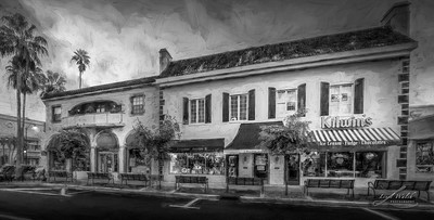 Kilwin's Ice Cream in Venice, Florida, Painterly, Black and White 2