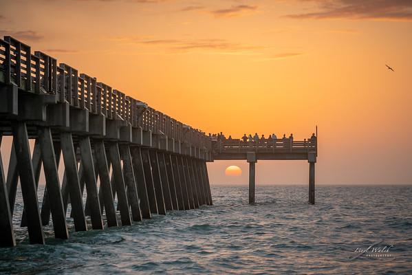 Venice Fishing Pier Framing the Sun, Florida