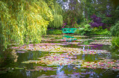 Monet's Waterlily Pond, Giverny, France, Painterly
