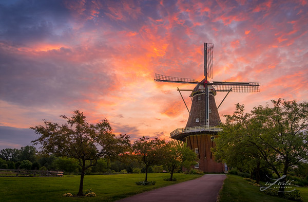 Incredible Sunrise at Windmill Island, Holland, Michigan