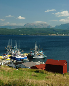 Bateaux, baie de Bonne et montagne de Gros Morne - Woody Point
