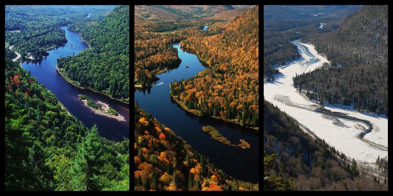 Été, automne et hiver au sentier de l'Éperon - Parc national de la rivière Jacques-Cartier