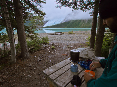 Breakfast at Marmot campsite
