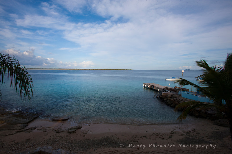 The view from the Den Laman condo's in Bonaire.  A beautiful setting to have a coffee each morning and view the sunset in the evening. Klein Bonaire in the distance.