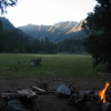 The view from our campsite of Morris Meadow and surrounding peaks