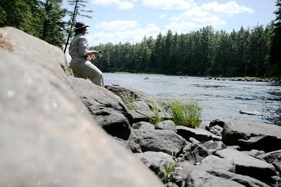 Fishing just below a set of rapids on the Petawawa river.