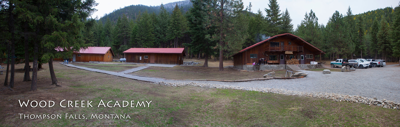 Panorama of the main buildings at Wood Creek Academy. Far left is the bunk house. Center in the school house. Far right is offices, kitchen and dining facility.