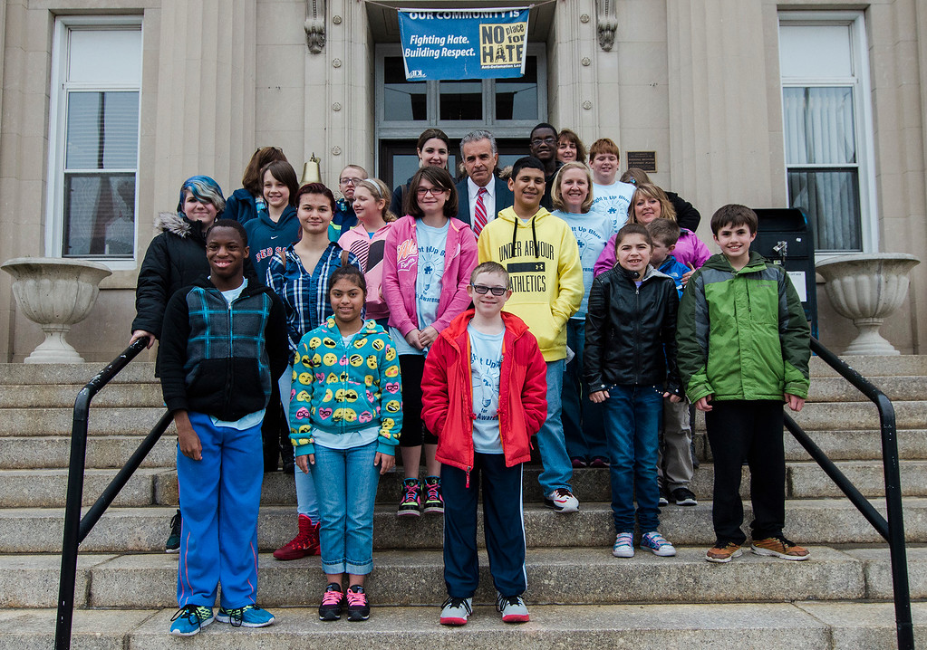 . Students from the life-skills classroom at Samoset School visit with Mayor Dean Mazzarella during a tour of City Hall as part of Autism Awareness Month on Wednesday, April 5, 2017. SENTINEL & ENTERPRISE / Ashley Green