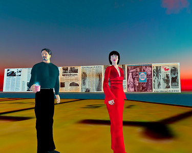 """""""Life-Squared"""" - an archival work in the synthetic world Second Life. Lynn Hershman Leeson and Stanford Humanities Lab, directed by Michael Shanks and Henry Lowood."""