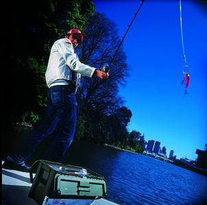 David Kuc fisherman on the Yarra  pic by Eamon gallagher