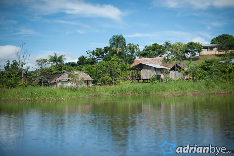 A typical view of an indigenous village from a boat