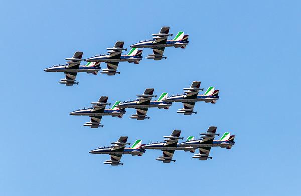 The Frecce Tricolori aerobatic air force patrol