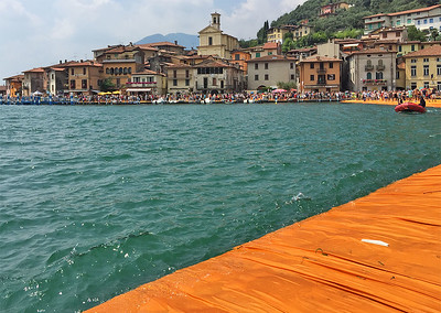 The floating piers project, by Christo, Iseo lake, Italy