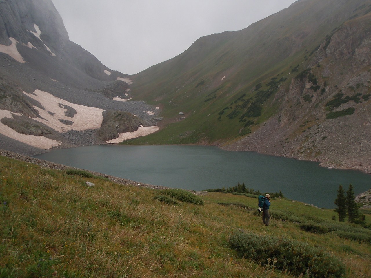 It rained all night, cloudy and overcast in the morning making an attempt at the summit out of the question. Still a fun excursion into Colorado's spectacular backcountry.