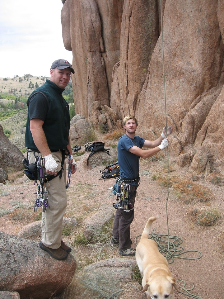 Pulling rope after a good climb.