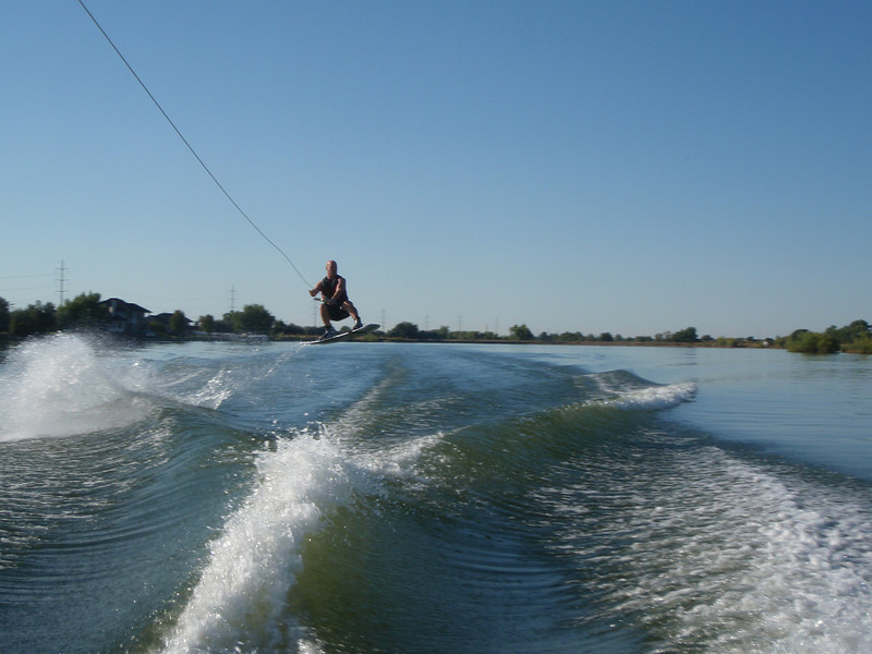 Matt earns some frequent flyer miles on his wakeboard.
