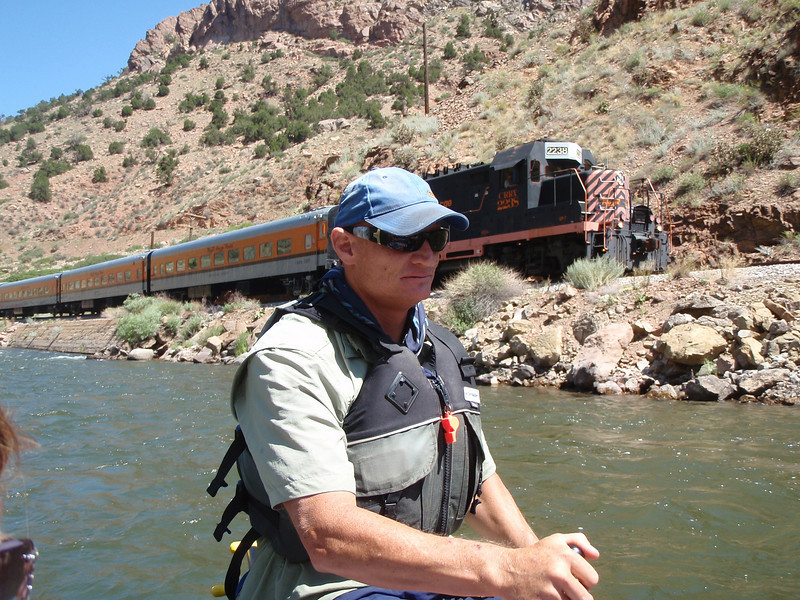 Our guide, and a train for site seeing.