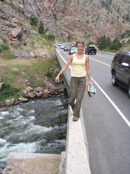 Rachel is the only one to ever walk over the river on this with me! We were only able to get one climb in before the weather turned, so we headed for some indoor climbing at The Spot bouldering gym.