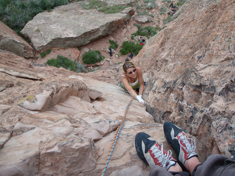 Rachel getting past the hardest section, just below the 2nd belay.