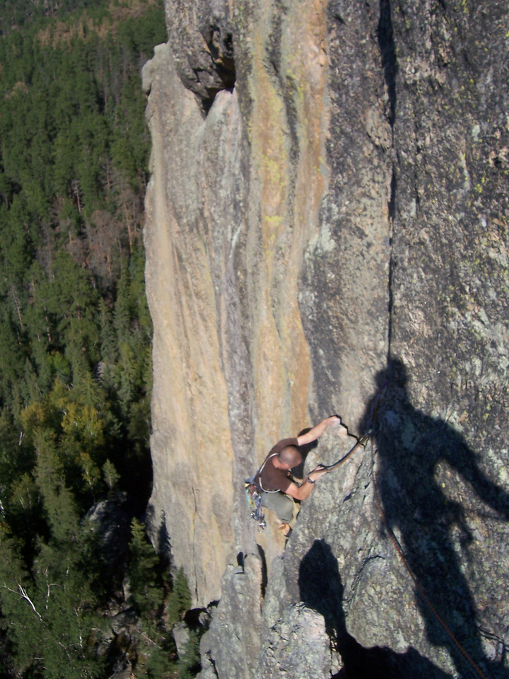 South Dakota, Sylvan Lake, climbing the Conn Diagonal with Brit.