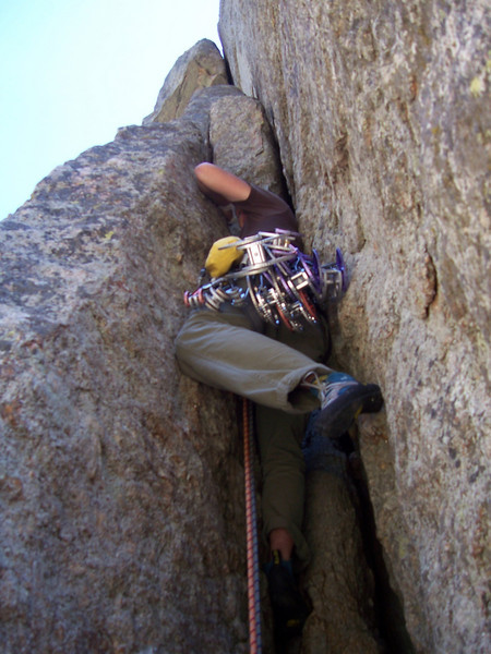 Here is a line we saw on our first trip to the Cathedral Spires. It is an offwidth pitch ending below a wide roof crack.