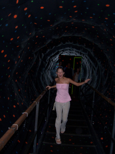 This tunnel would make you feel like you were falling over as you walked through it, so we had to try running through it.