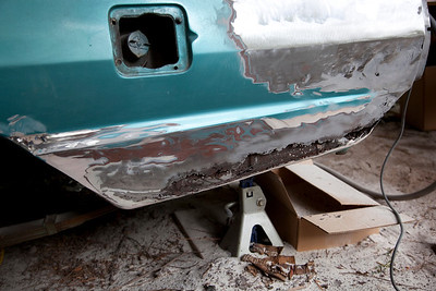Here is a close up of the rust damage that we uncovered as we sanded through the Bondo on the lower left quarter panel.