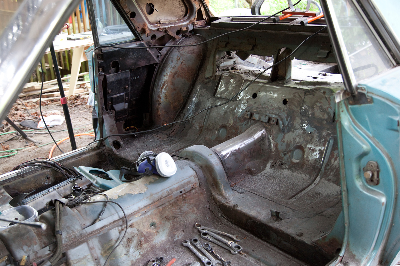 Here is a shot of the interior rear in it's current state. We've been doing some sanding and rust removal on the inside as well.