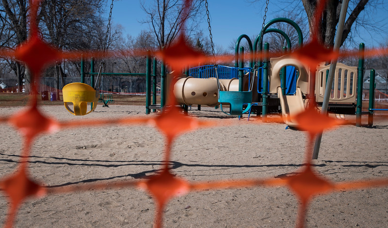 The playground is closed at City Park during the first day of a county and state-wide stay at home order in Fort Collins, Colo. on Thursday, March 26, 2020. The playground is closed at City Park as Larimer County issues a stay-at-home order in Fort Collins, Colo. on Thursday, March 26, 2020.