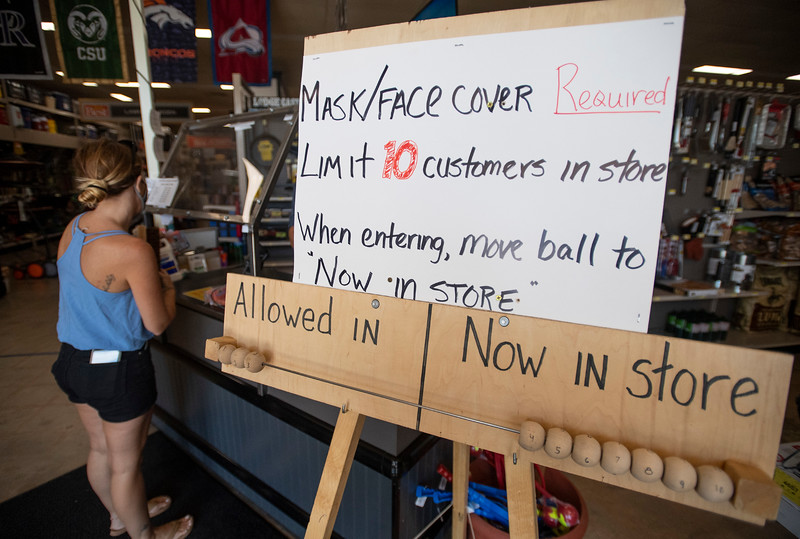 A tally system informs customers how many more people are allowed into Josephs' Hardware & Home Store in Fort Collins, Colo. on Monday, July 13, 2020. Sales taxes paid on building materials, garden equipment and supplies were up nearly 25% in May, compared to April.