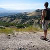 Peering out at Salt Lake City