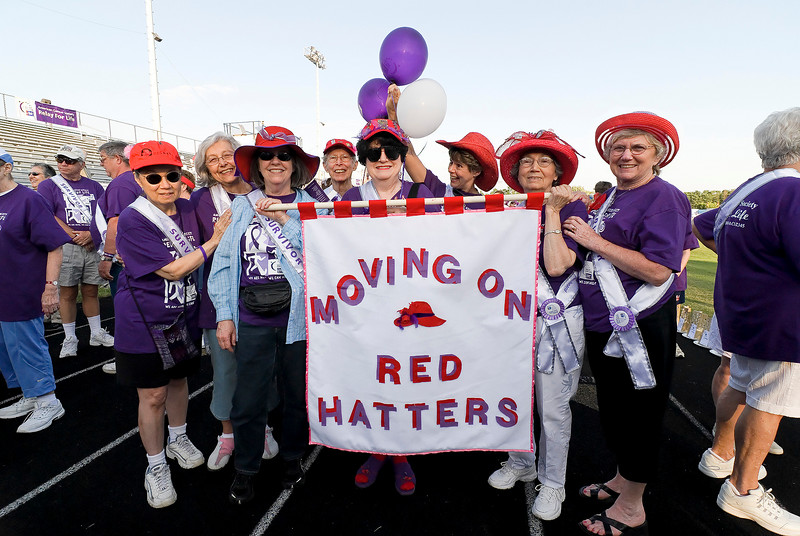 Eight Inova Life with Cancer Red Hatters before the start of the Survivors Walk of the Vienna, VA Relay for Life  (L to R)  Carolyn Sam, Marge Coates, Nancy Berlin, Casey Neperud, Patricia Elder, Betsy Hunter, Edna Derrick, and Norma Booth. © 2007, Terry J. Sam, All Rights Reserved