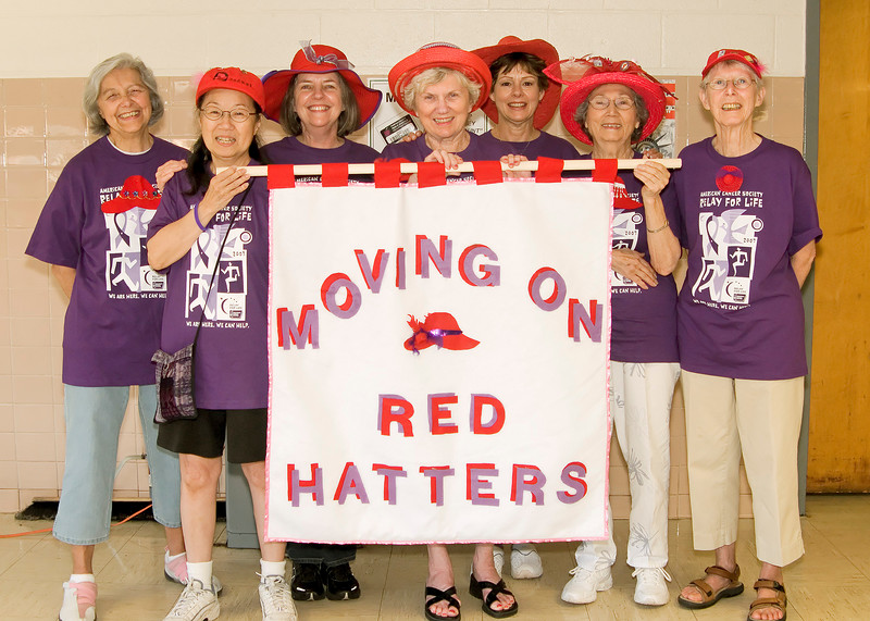 Seven Inova Life with Cancer Red Hatters at the Vienna, VA Relay for Life Survivors Reception (L to R) Marge Coates, Carolyn Sam, Nancy Berlin, Norma Booth, Betsy Hunter, Edna Derrick, and Casey Neperud. © 2007, Terry J. Sam, All Rights Reserved
