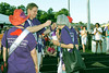 Before the start of the Vienna, VA Relay for Life Survivor Walk, cancer survivor and U.S Congressman from Virginia, Tom Davis, places a cancer survivor medallion on Inova Life with Cancer Red Hatter Marge Coates.  © 2007, Terry J. Sam, All Rights Reserved