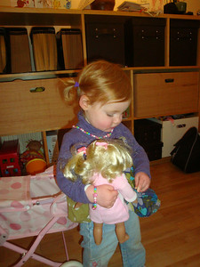 Mummy is hoping that this dolly's hair might replace Isla's need to play with hers...