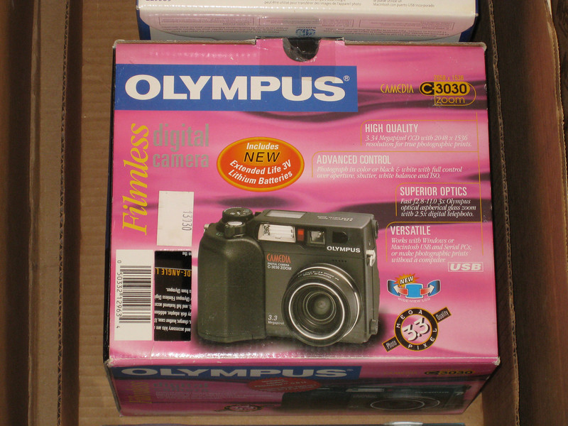 "The original box for my Olympus C3030 Zoom. I took this picture because I was throwing away the box, and because it says ""FILMLESS"" on it which is awesome. 03/02/2011"