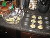 Adding filling. Making corn muffin pot pies, 08/08/2012