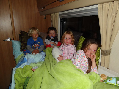Emmanuel, Thomas, Isla and Lily all ready for bed