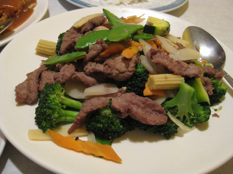 Steamed veggies with beef. China Doll with Sean, 06/02/2012