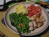 Dinner: Grilled chicken, peas, mashed potatoes, and sliced tomatoes. 10/03/2012