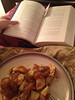 Leftover soy gravy chicken and Goblet of Fire. (I reread all seven Harry Potter books in about a week; so fun!) 03/01/2013