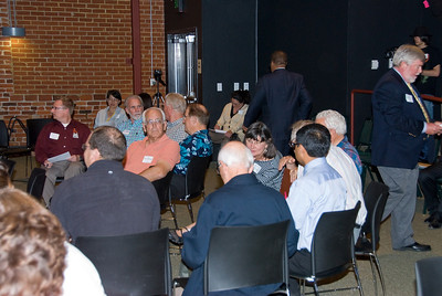 "210 Connect 4/14/2008   Forum topic: ""Pathways to Our Future"" - an opening dialog to envision a better future for Visalia. Attendees sitting in small circles for interaction after presentations."