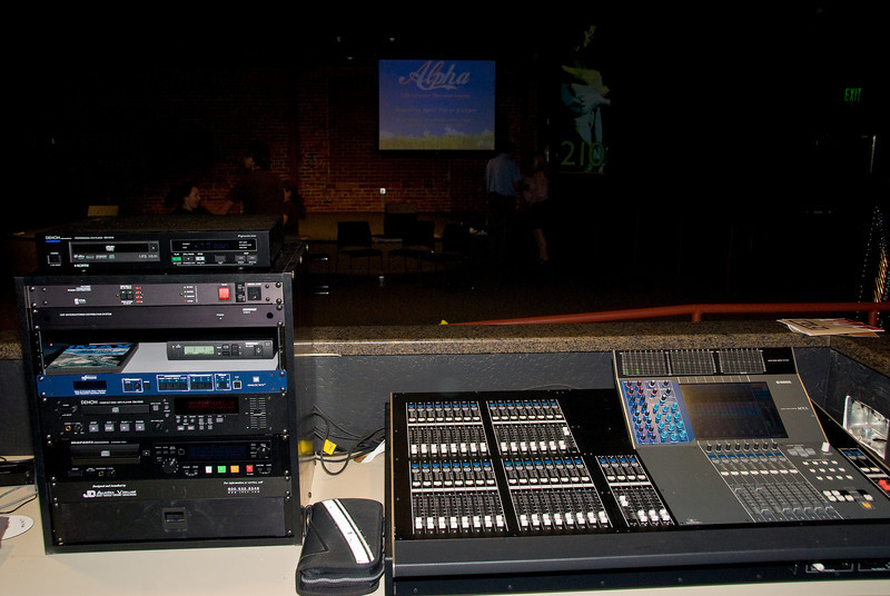 Photos from 210 Grand Opening 3-30-2008.   New sound board - very high tech.