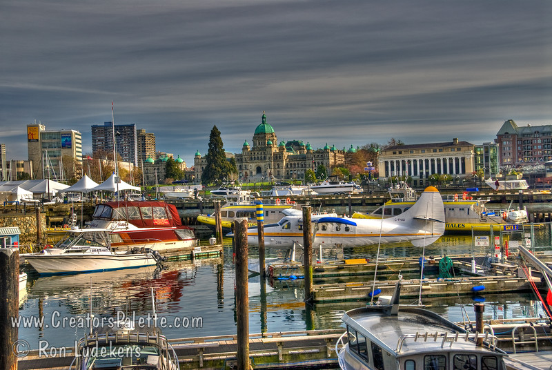 Victoria's Inner harbor with British Columbia's Legislative Buildings in the background