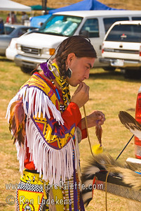 Photo taken at Tule River 2007 Pow Wow on September 22, 2007 at McCarthy Ranch, Porterville, CA.   Montee - dancer getting prepared