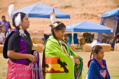 Photo taken at Tule River 2007 Pow Wow on September 22, 2007 at McCarthy Ranch, Porterville, CA. Introduction of Tule River Pow Wow Princess Contest contestants. From left: Shy-La Brook Franco, Alicia Lopez Hunter, Valerie Williams.