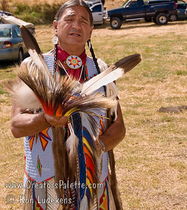 Photo taken at Tule River 2007 Pow Wow on September 22, 2007 at McCarthy Ranch, Porterville, CA.  Darrel - dance explaining his regalia