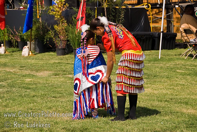 Photo taken at Tule River 2007 Pow Wow on September 22, 2007 at McCarthy Ranch, Porterville, CA. Shy-La and Kiana Franko.  Shy-La a contestant in Junior Princess contest.  Kiana is a Jingle Dancer.
