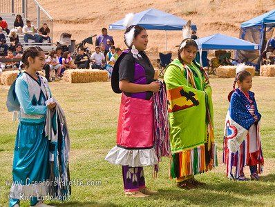 Photo taken at Tule River 2007 Pow Wow on September 22, 2007 at McCarthy Ranch, Porterville, CA. Introduction of Tule River Pow Wow Princess Contest contestants. From right: Shy-La Brook Franco, Alicia Lopez Hunter, Valerie Williams, Weliyah Baga.