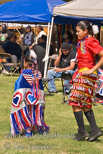 Photo taken at Tule River 2007 Pow Wow on September 22, 2007 at McCarthy Ranch, Porterville, CA.  Shy-La and Kiana Franko doing inter-tribal dance.  Shy-La is dancing Fancy.  Kiana is a Jingle Dancer.